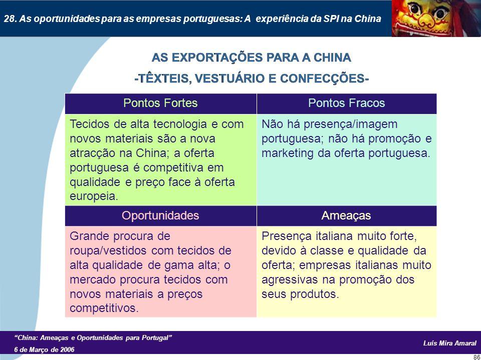 Luís Mira Amaral China: Ameaças e Oportunidades para Portugal 6 de Março de 2006 86 28.
