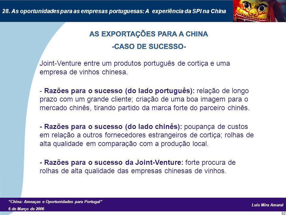 Luís Mira Amaral China: Ameaças e Oportunidades para Portugal 6 de Março de 2006 92 28.