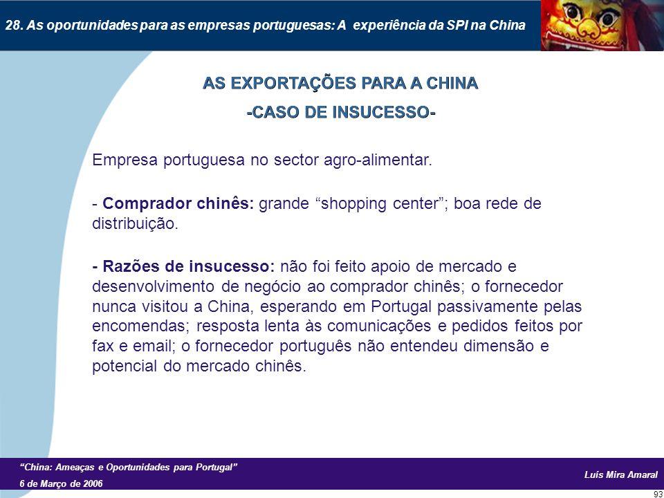 Luís Mira Amaral China: Ameaças e Oportunidades para Portugal 6 de Março de 2006 93 28.
