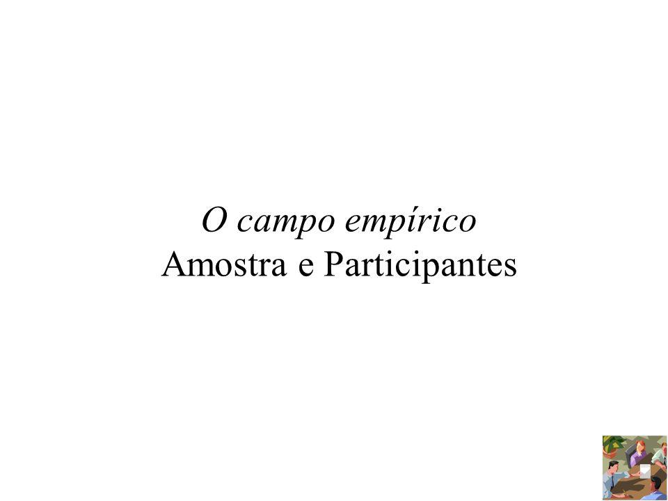 O campo empírico Amostra e Participantes