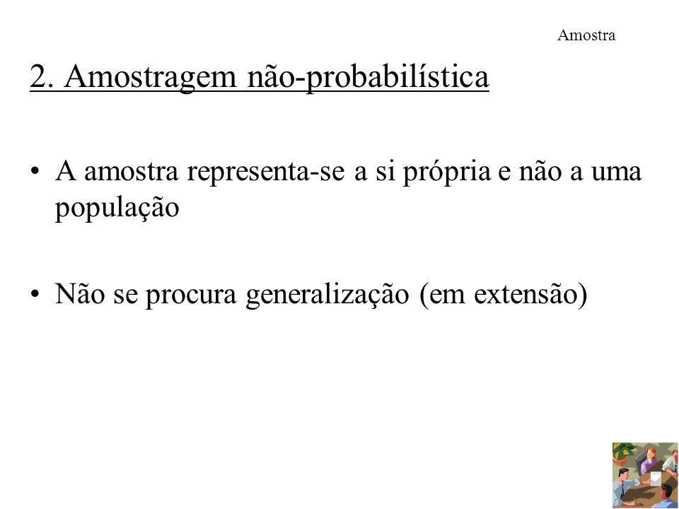 Amostra 2. Amostragem não-probabilística A amostra representa-se a si própria e não a uma população Não se procura generalização (em extensão)