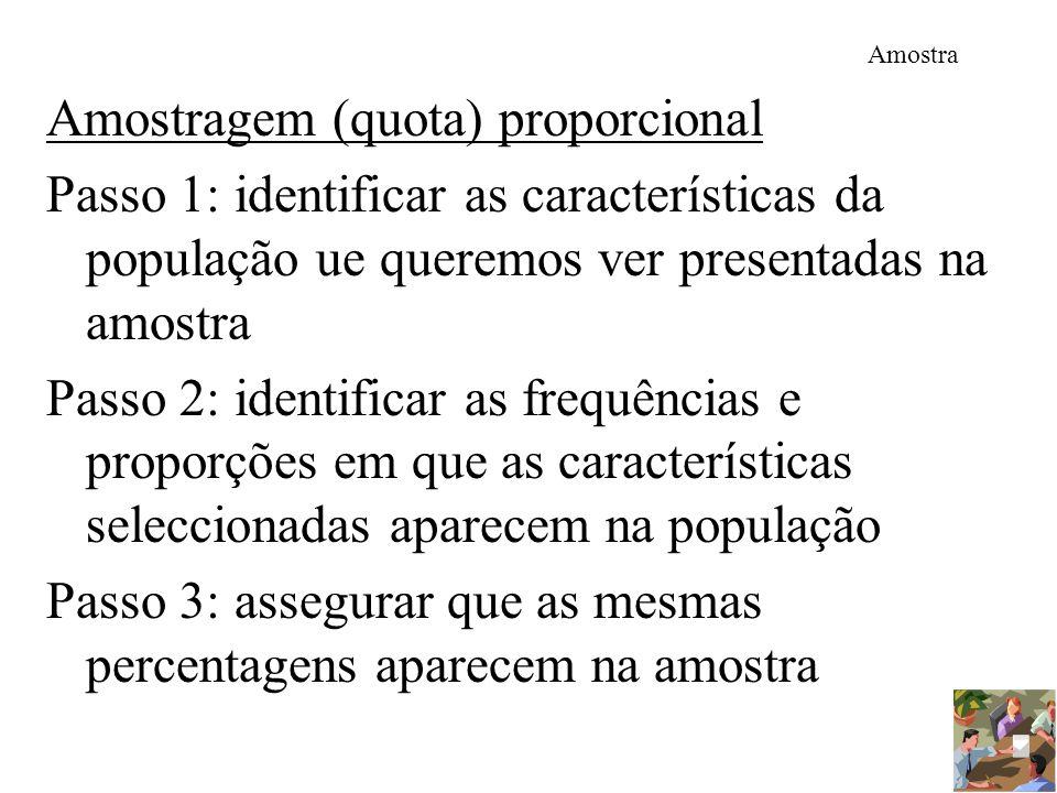 Amostra Amostragem (quota) proporcional Passo 1: identificar as características da população ue queremos ver presentadas na amostra Passo 2: identific