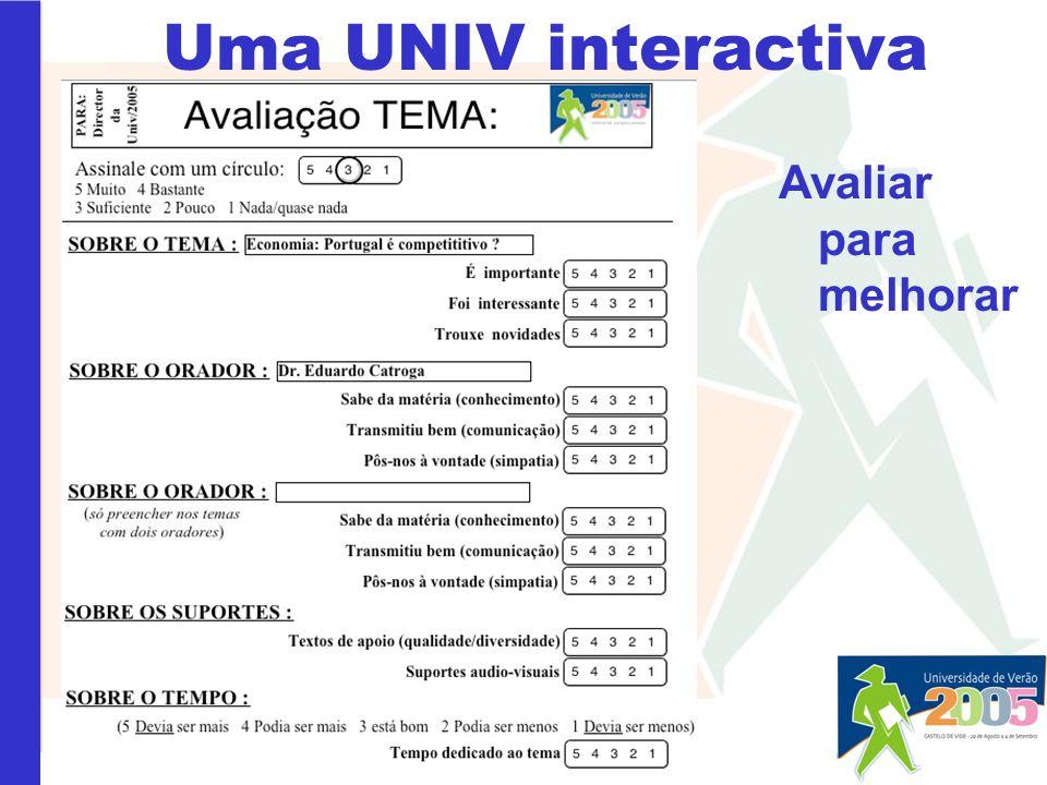 Uma UNIV interactiva Avaliar para melhorar