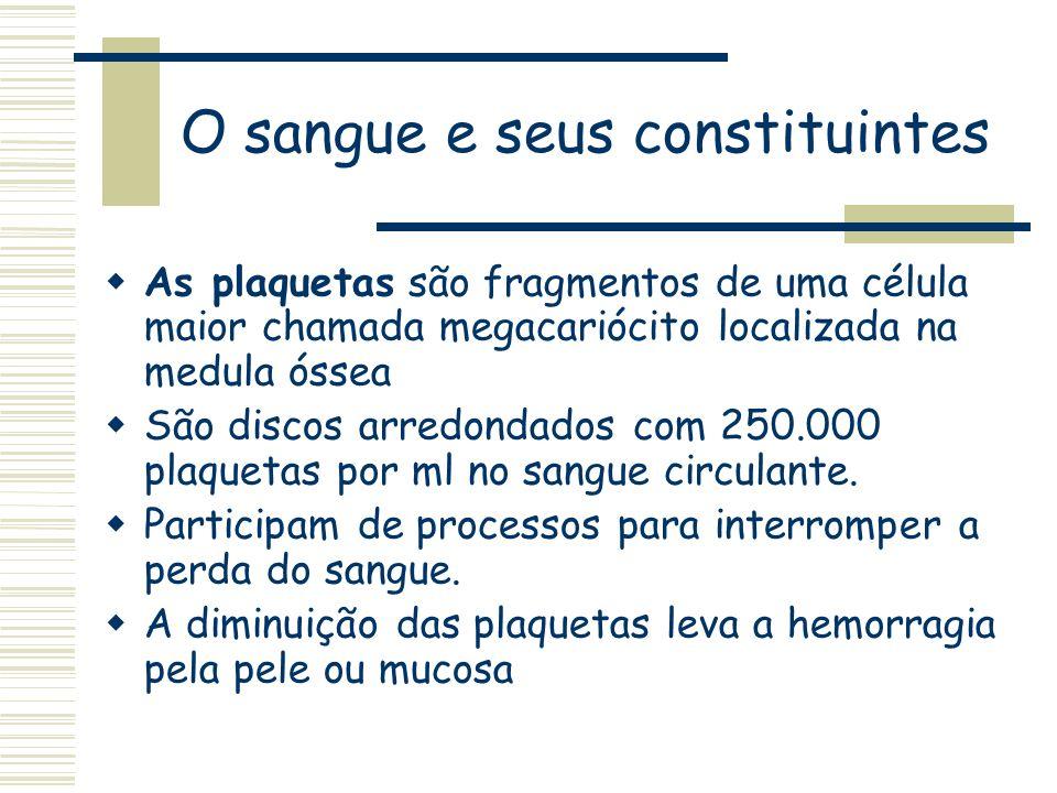 O sangue e seus constituintes As plaquetas são fragmentos de uma célula maior chamada megacariócito localizada na medula óssea São discos arredondados