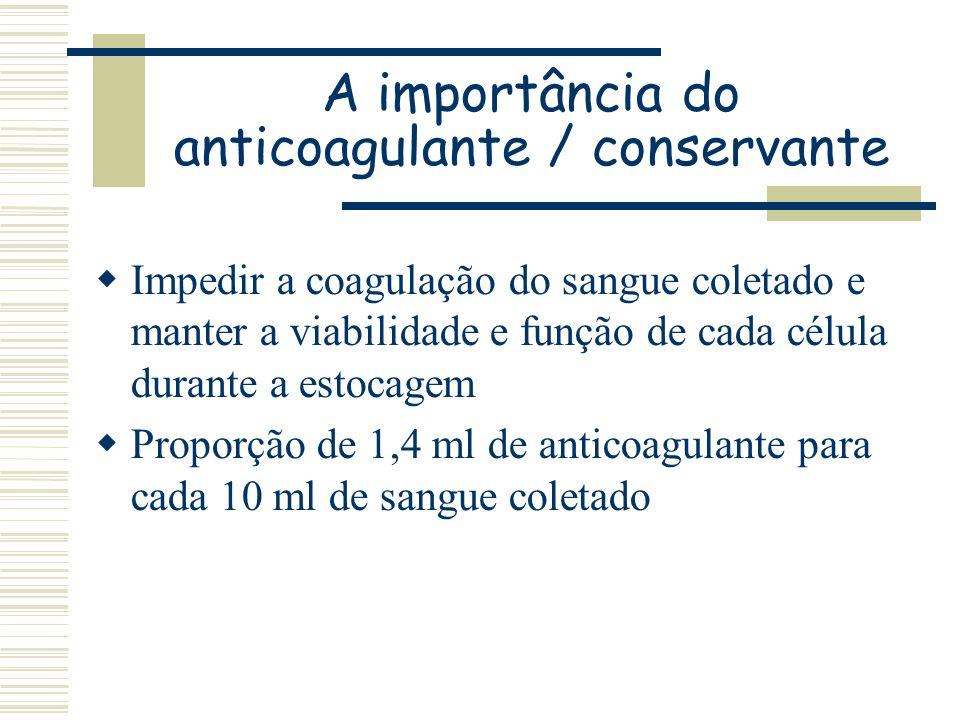 A importância do anticoagulante / conservante Impedir a coagulação do sangue coletado e manter a viabilidade e função de cada célula durante a estocag