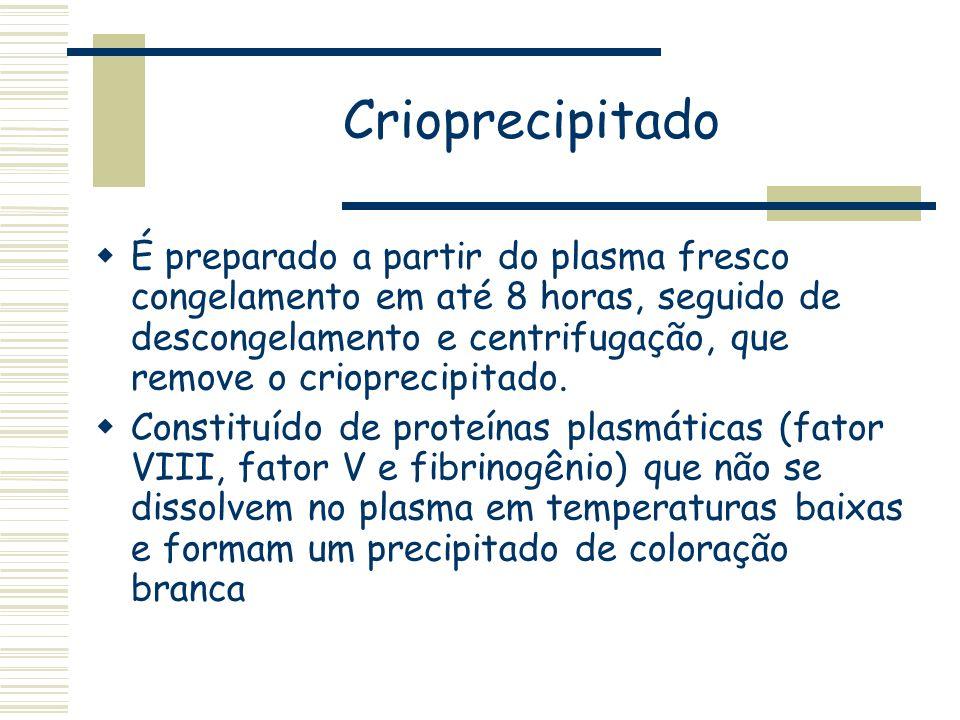 Crioprecipitado É preparado a partir do plasma fresco congelamento em até 8 horas, seguido de descongelamento e centrifugação, que remove o crioprecip