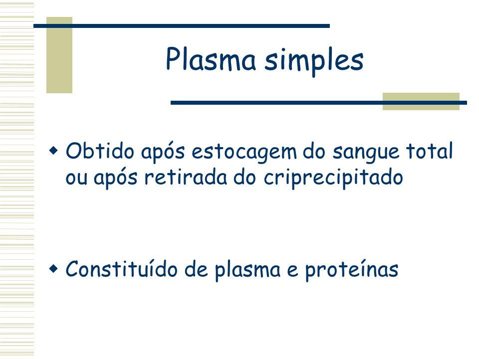 Plasma simples Obtido após estocagem do sangue total ou após retirada do criprecipitado Constituído de plasma e proteínas