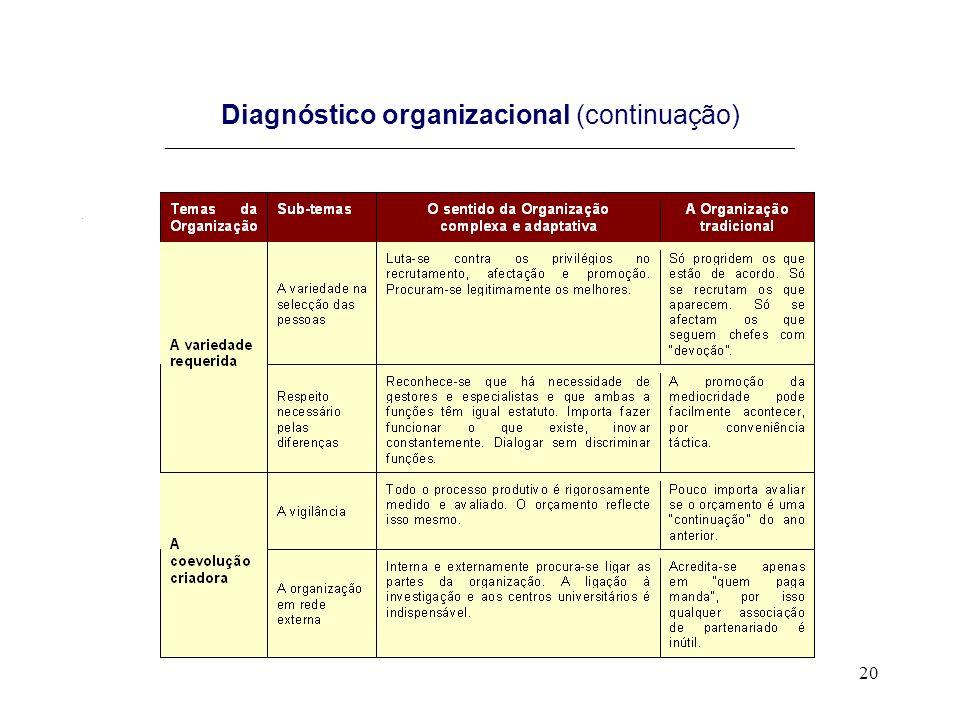 20 Diagnóstico organizacional (continuação) _______________________________________________________________________.