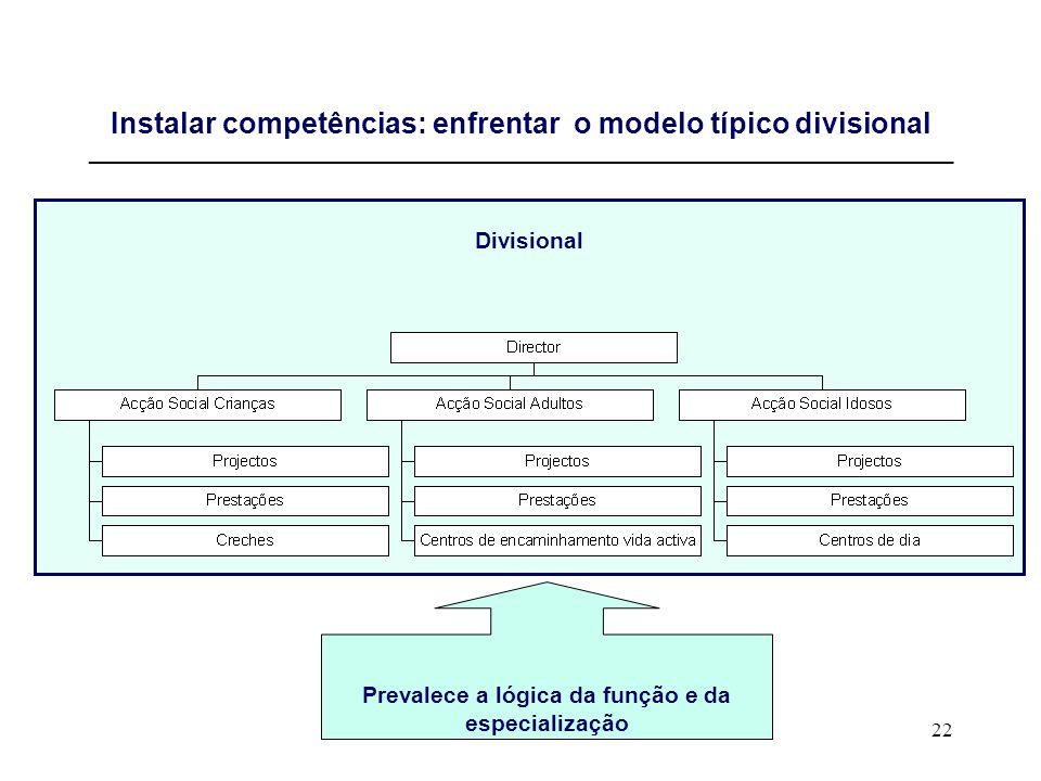 22 Instalar competências: enfrentar o modelo típico divisional _____________________________________________________________________________ Divisiona
