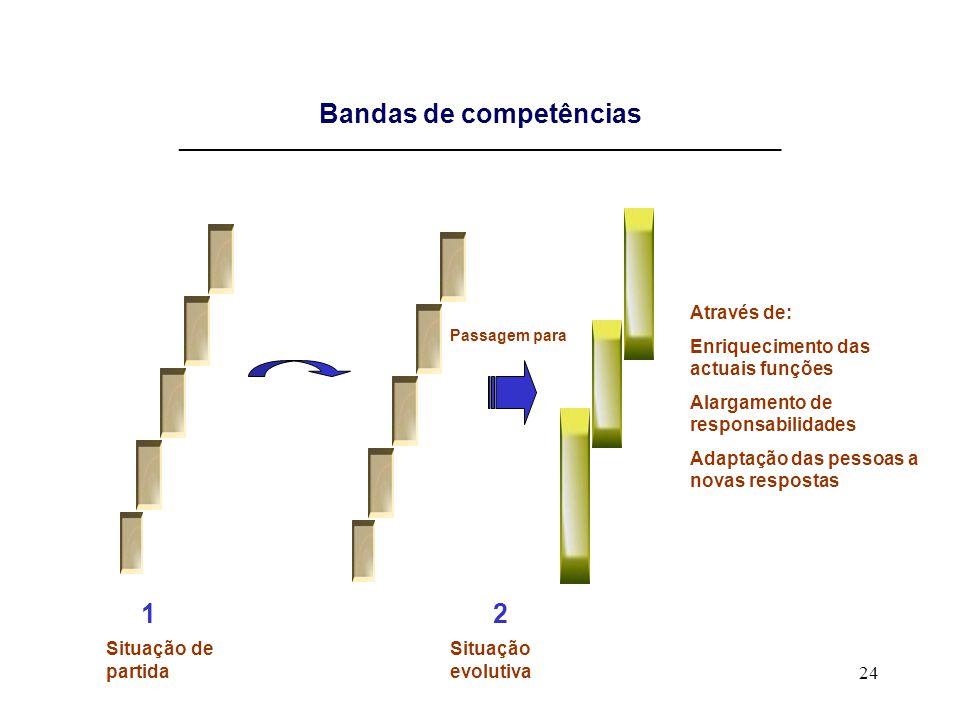 24 Bandas de competências __________________________________________________________ Através de: Enriquecimento das actuais funções Alargamento de res
