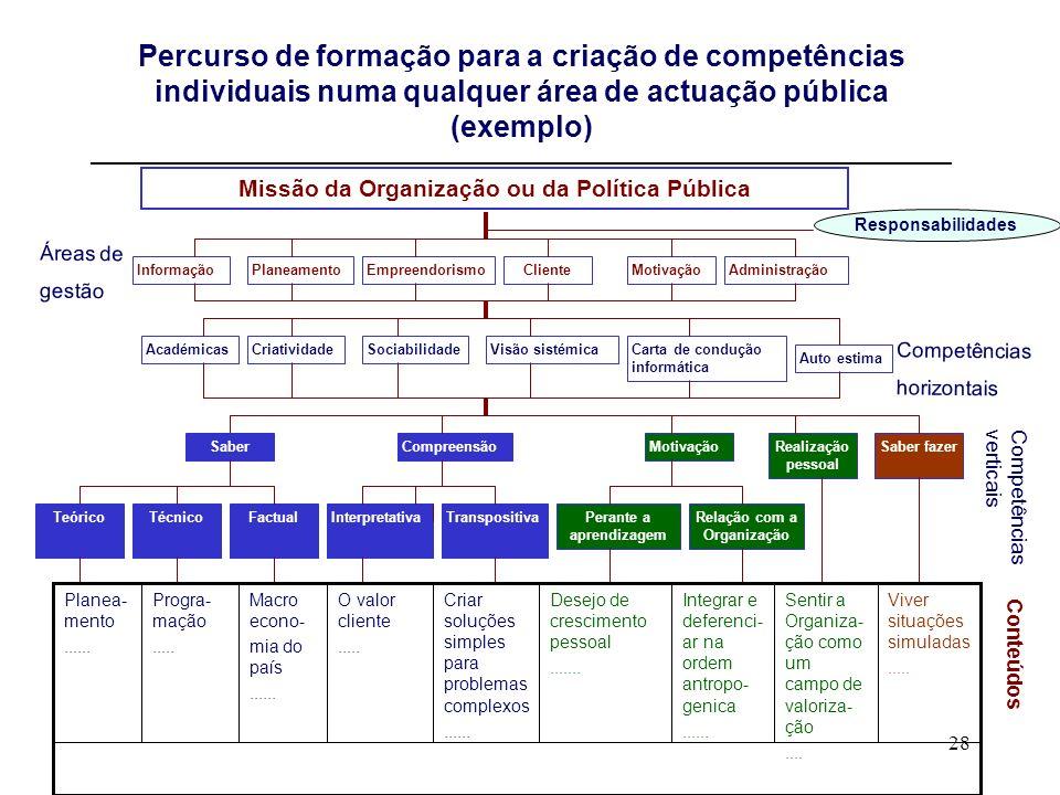 28 Percurso de formação para a criação de competências individuais numa qualquer área de actuação pública (exemplo) __________________________________