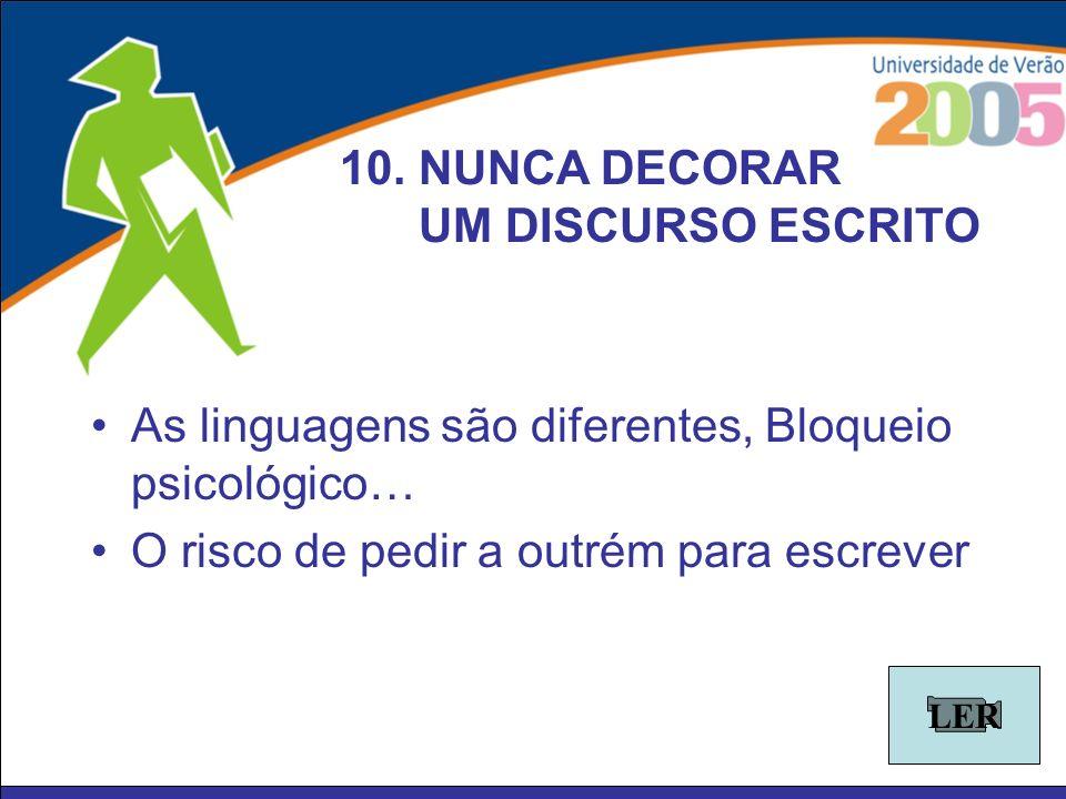 As linguagens são diferentes, Bloqueio psicológico… O risco de pedir a outrém para escrever 10. NUNCA DECORAR UM DISCURSO ESCRITO LER