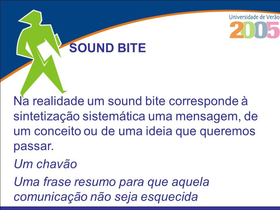 Na realidade um sound bite corresponde à sintetização sistemática uma mensagem, de um conceito ou de uma ideia que queremos passar. Um chavão Uma fras