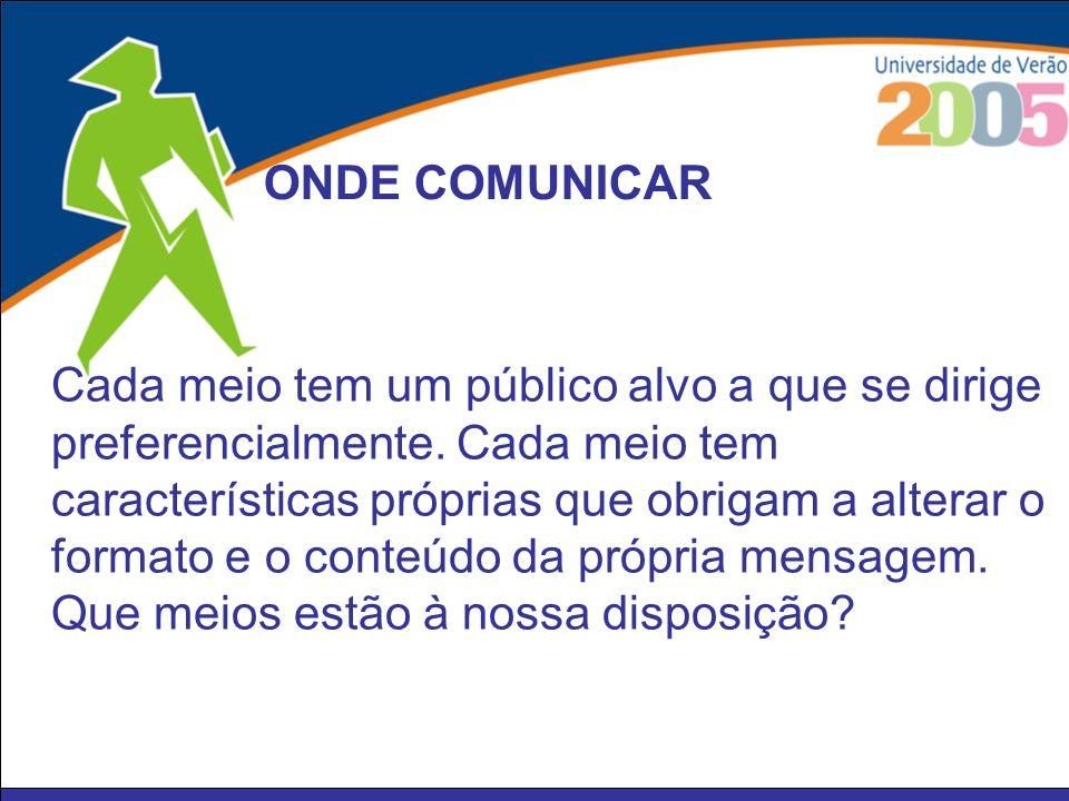 públicos colegas militantes simpatizantes cidadãos meios Jornal da Secção Press-release Net Jornais Rádios Televisão ONDE COMUNICAR