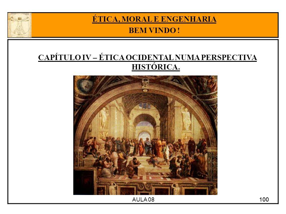AULA 08 100 CAPÍTULO IV – ÉTICA OCIDENTAL NUMA PERSPECTIVA HISTÓRICA. 100 ÉTICA, MORAL E ENGENHARIA BEM VINDO !