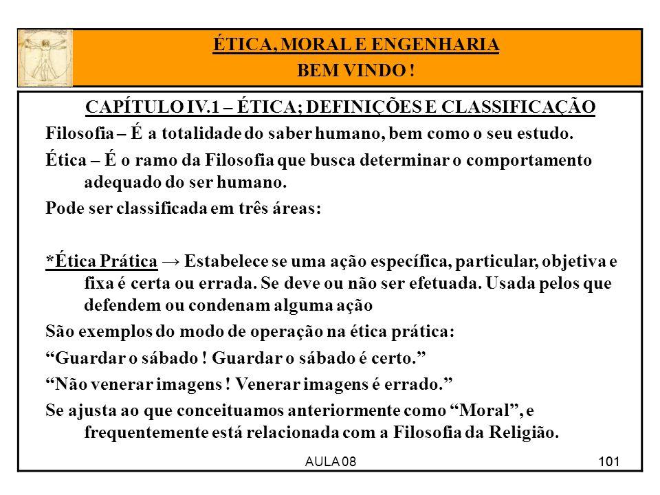 AULA 08 101 CAPÍTULO IV.1 – ÉTICA; DEFINIÇÕES E CLASSIFICAÇÃO Filosofia – É a totalidade do saber humano, bem como o seu estudo. Ética – É o ramo da F