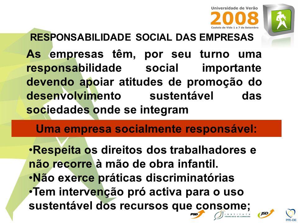 As empresas têm, por seu turno uma responsabilidade social importante devendo apoiar atitudes de promoção do desenvolvimento sustentável das sociedade
