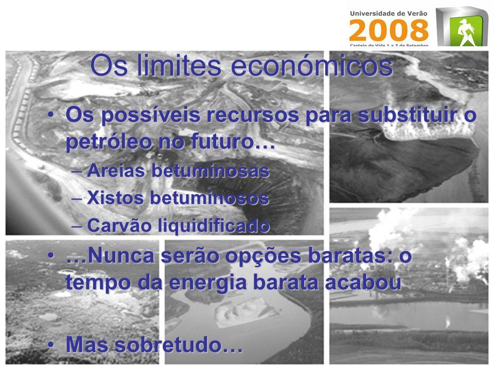 Os limites económicos Os possíveis recursos para substituir o petróleo no futuro…Os possíveis recursos para substituir o petróleo no futuro… –Areias b