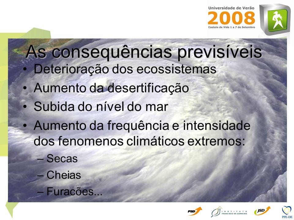 Deterioração dos ecossistemas Aumento da desertificação Subida do nível do mar Aumento da frequência e intensidade dos fenomenos climáticos extremos:
