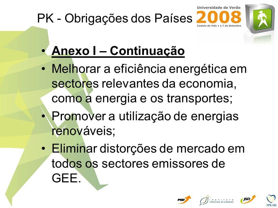 PK - Obrigações dos Países Anexo I – Continuação Melhorar a eficiência energética em sectores relevantes da economia, como a energia e os transportes;
