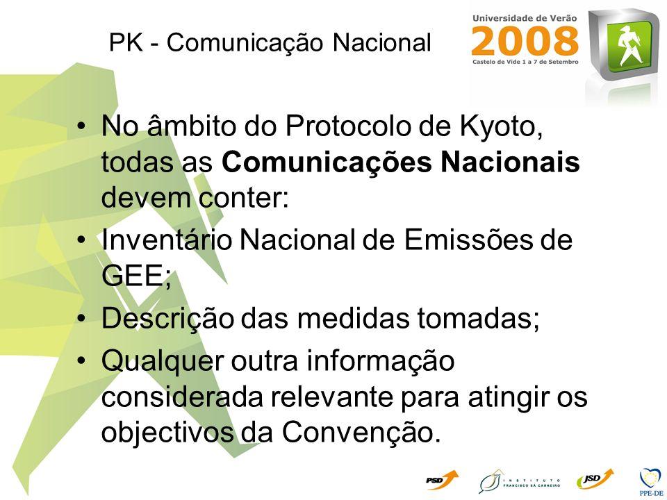 PK - Comunicação Nacional No âmbito do Protocolo de Kyoto, todas as Comunicações Nacionais devem conter: Inventário Nacional de Emissões de GEE; Descr
