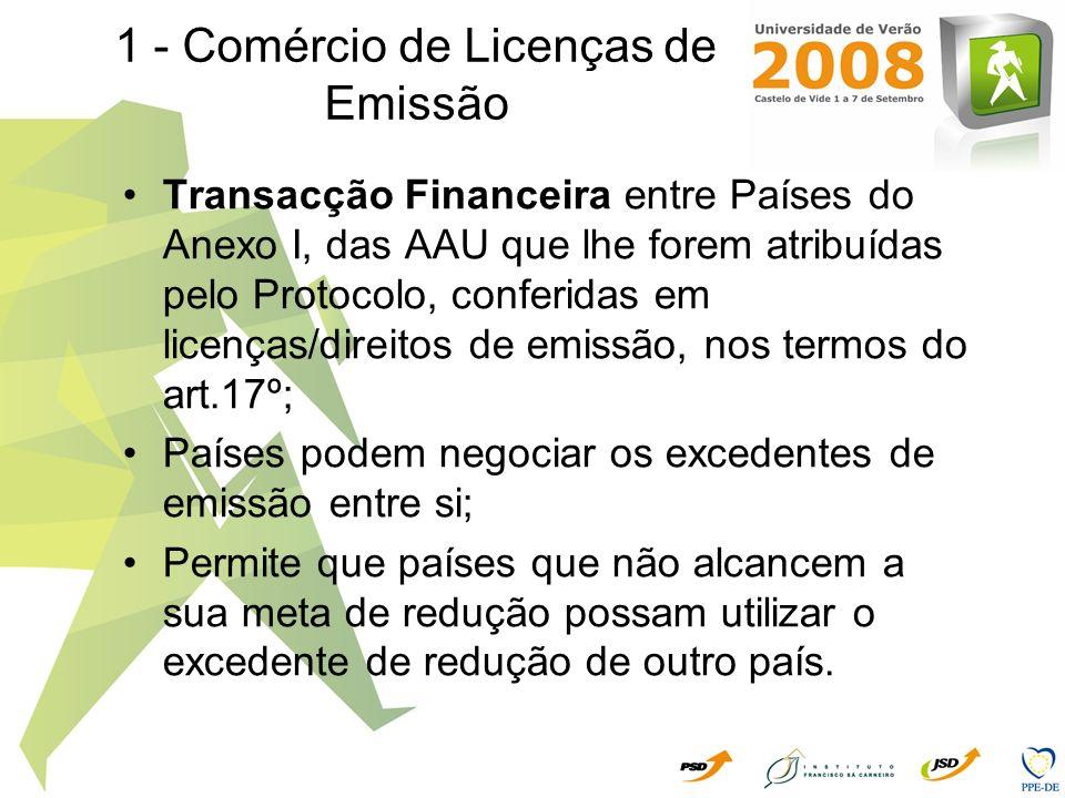 2 - Implementação Conjunta Permite às Partes Anexo I, transaccionar unidades de redução de emissões (ERU), mediante projectos de investimento entre empresas ou Países, de tal forma que as unidades de redução de emissões assim geradas serão adicionadas à quota do país investidor e subtraídas à quota do país beneficiário; Aquisição das ERU é suplementar às acções nacionais destinadas a reduzir as emissões de GEE.
