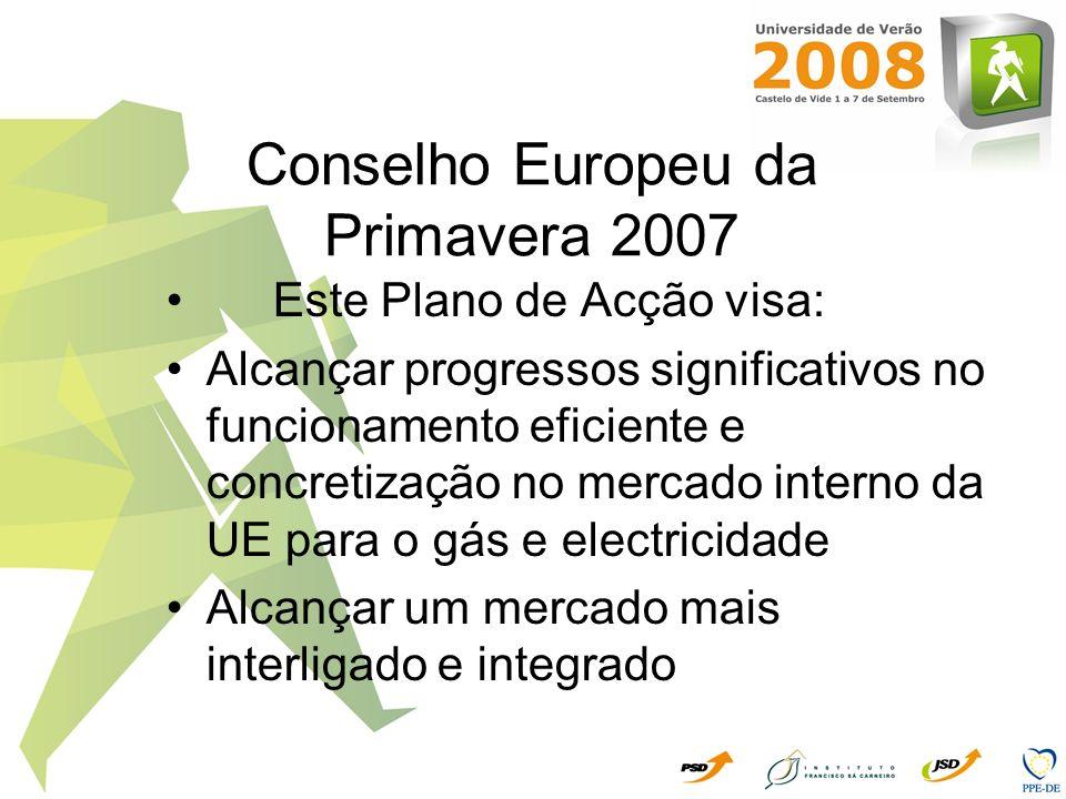 Conselho Europeu da Primavera 2007 Este Plano de Acção visa: Alcançar progressos significativos no funcionamento eficiente e concretização no mercado