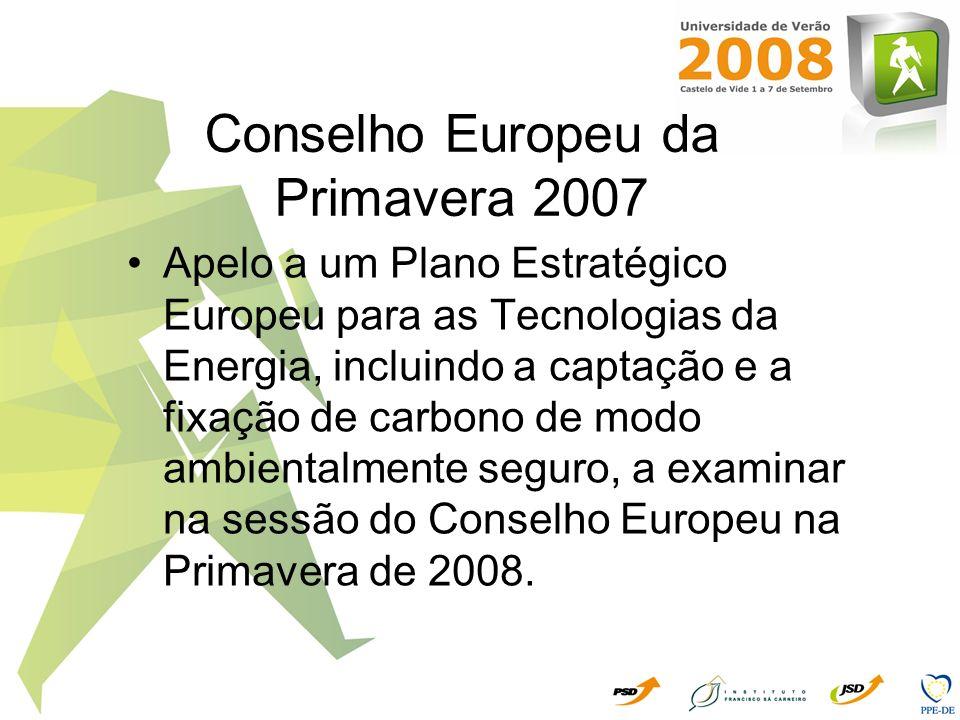 Nova Política Europeia contra as Alterações Climáticas – 23.01.2008 Para o período pós Kyoto 2013-2020 Confirmam-se os objectivos da Cimeira da Primavera (Março 2007) E ainda, Reduzir 20% as emissões de GEE 20% do consumo de energia proveniente de FERs Incorporação de 10% de biocombustíveis até 2020