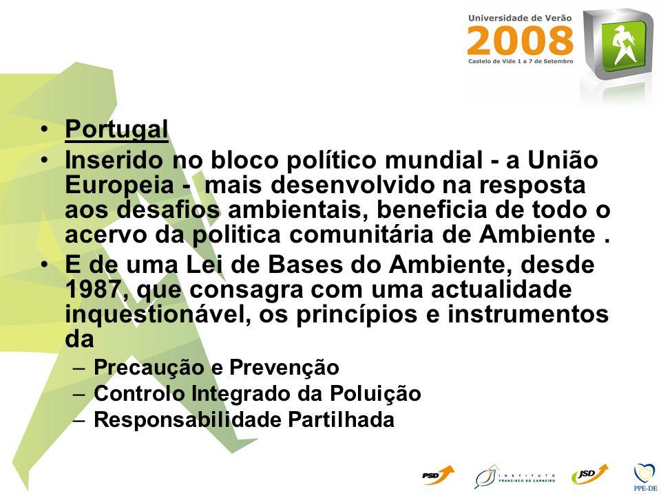 Portugal Inserido no bloco político mundial - a União Europeia - mais desenvolvido na resposta aos desafios ambientais, beneficia de todo o acervo da
