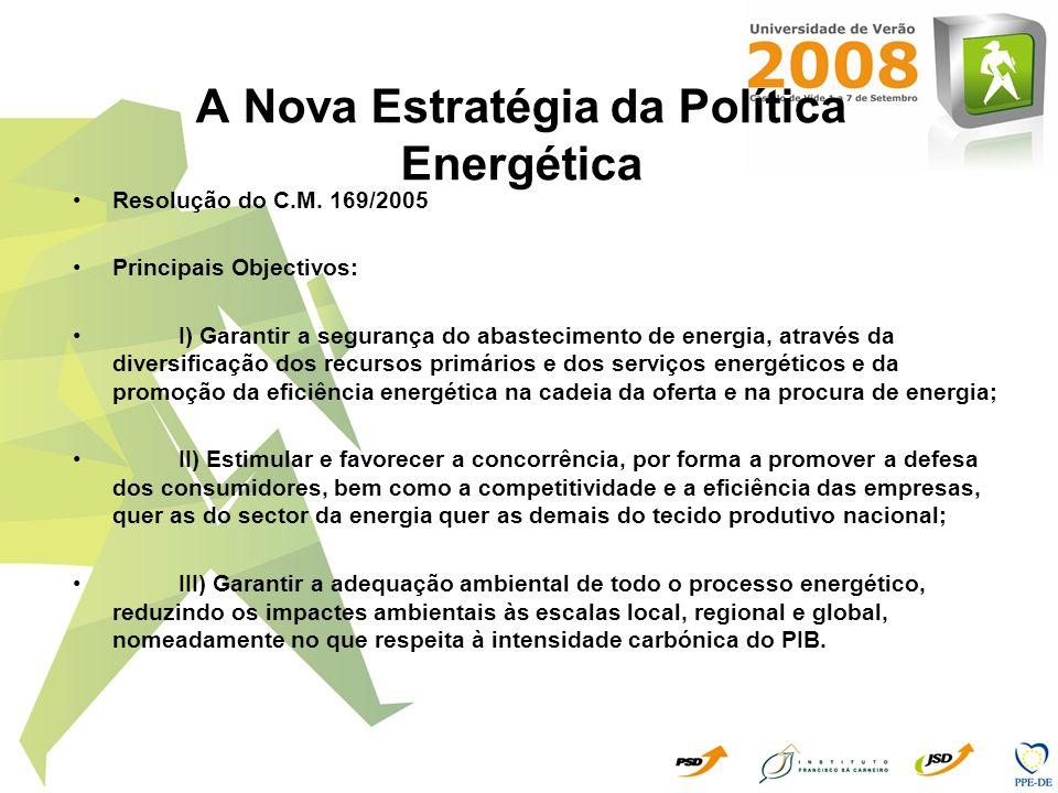 A Nova Estratégia da Política Energética Resolução do C.M. 169/2005 Principais Objectivos: I) Garantir a segurança do abastecimento de energia, atravé