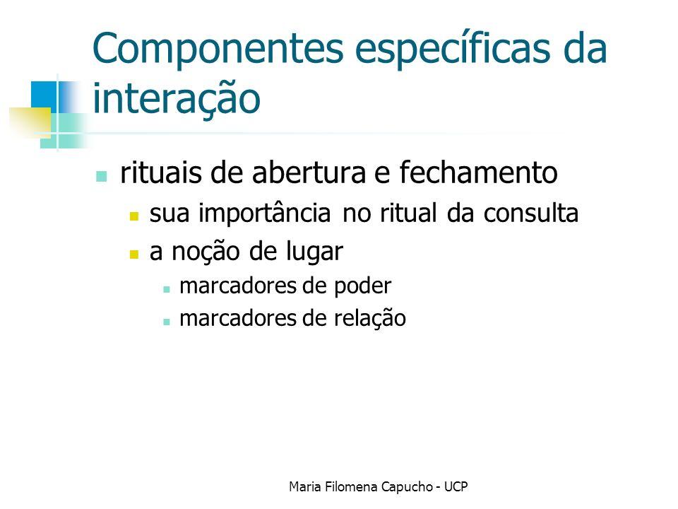 Componentes específicas da interação rituais de abertura e fechamento sua importância no ritual da consulta a noção de lugar marcadores de poder marcadores de relação Maria Filomena Capucho - UCP