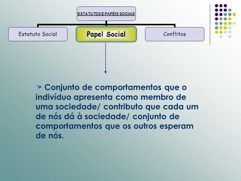 ESTATUTOS E PAPÉIS SOCIAIS Estatuto SocialPapel SocialConflitos Conjunto de comportamentos que o indivíduo apresenta como membro de uma sociedade/ con