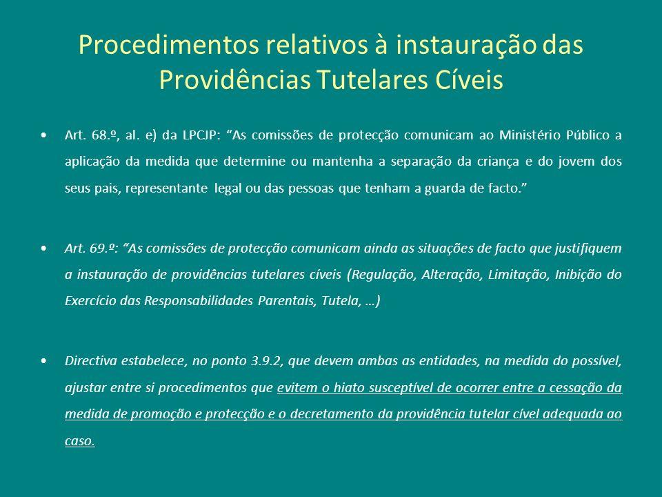 Procedimentos relativos à instauração das Providências Tutelares Cíveis Art. 68.º, al. e) da LPCJP: As comissões de protecção comunicam ao Ministério