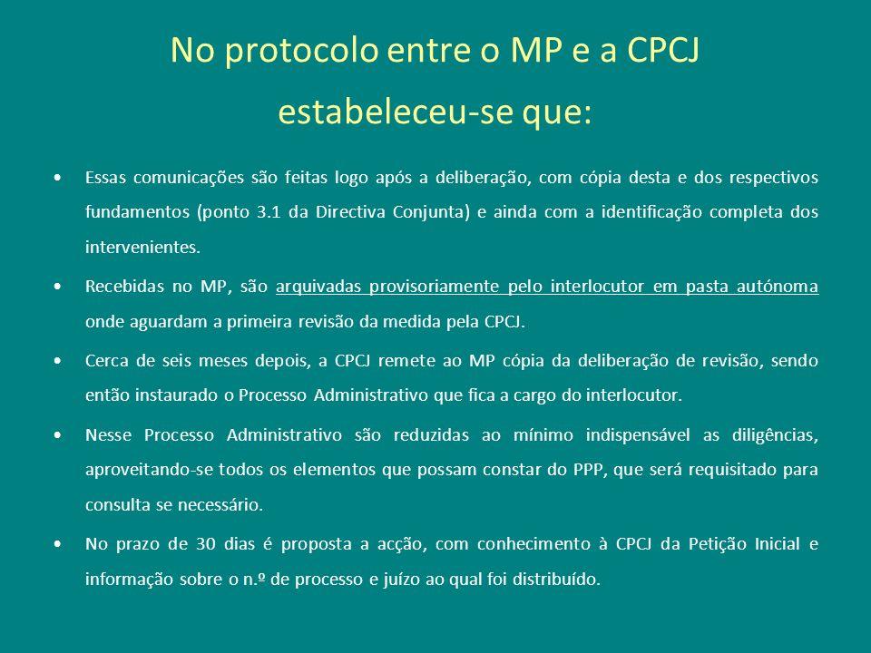 No protocolo entre o MP e a CPCJ estabeleceu-se que: Essas comunicações são feitas logo após a deliberação, com cópia desta e dos respectivos fundamen