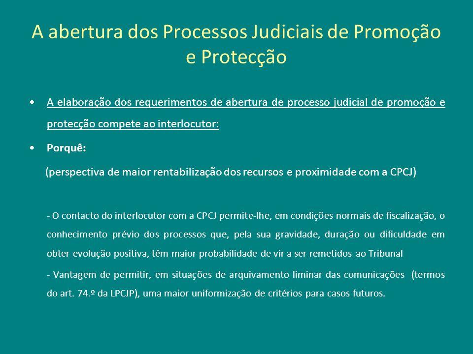 A abertura dos Processos Judiciais de Promoção e Protecção A elaboração dos requerimentos de abertura de processo judicial de promoção e protecção com