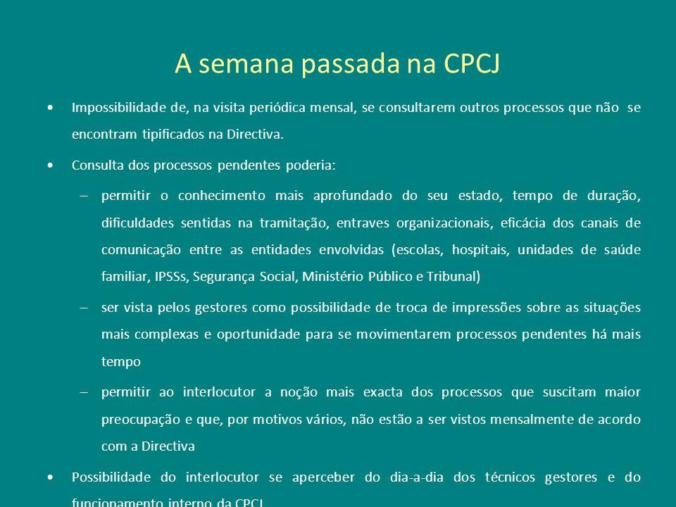 A semana passada na CPCJ Impossibilidade de, na visita periódica mensal, se consultarem outros processos que não se encontram tipificados na Directiva