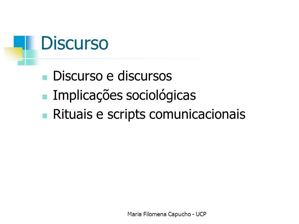 Discurso Discurso e discursos Implicações sociológicas Rituais e scripts comunicacionais Maria Filomena Capucho - UCP