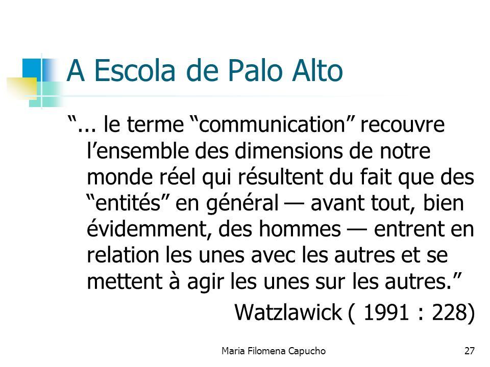 Maria Filomena Capucho27 A Escola de Palo Alto... le terme communication recouvre lensemble des dimensions de notre monde réel qui résultent du fait q
