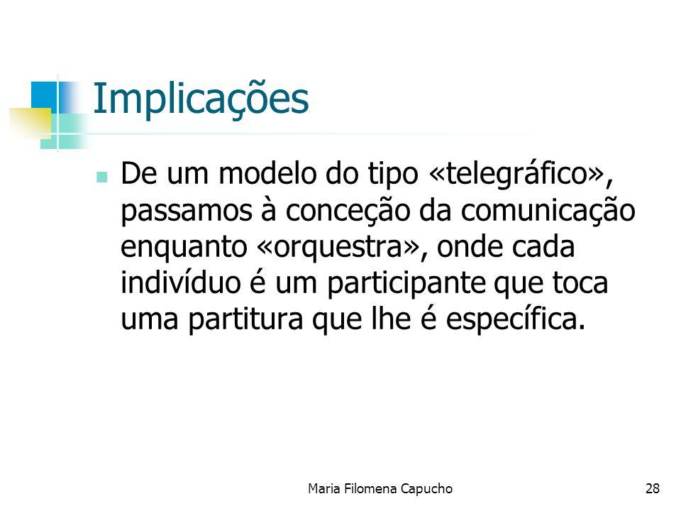 Maria Filomena Capucho28 Implicações De um modelo do tipo «telegráfico», passamos à conceção da comunicação enquanto «orquestra», onde cada indivíduo