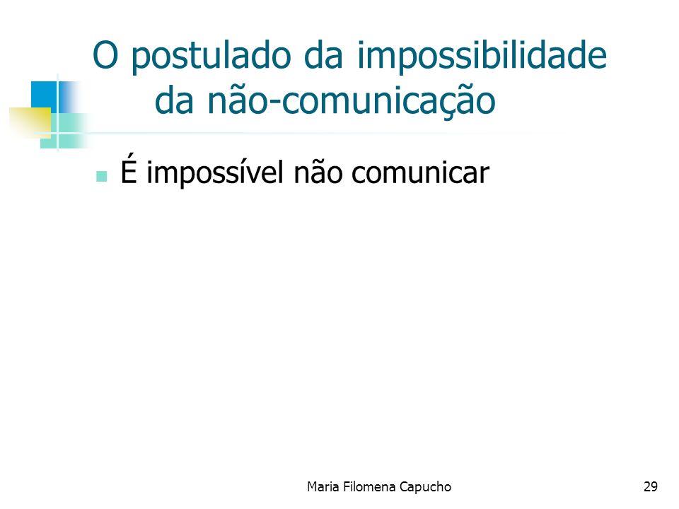 Maria Filomena Capucho29 O postulado da impossibilidade da não-comunicação É impossível não comunicar