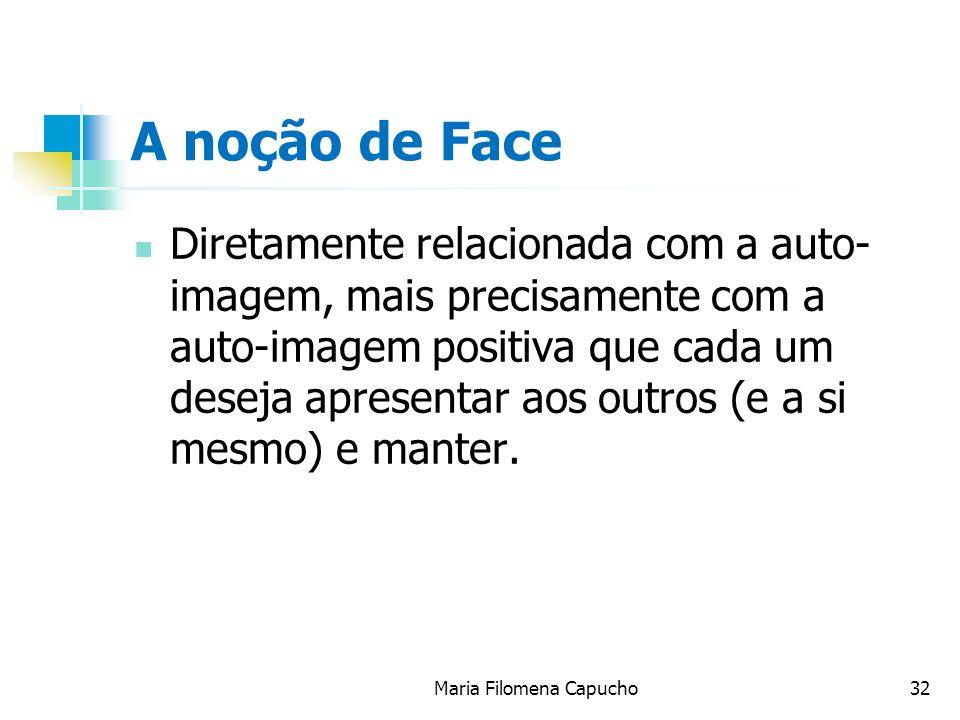 Maria Filomena Capucho32 A noção de Face Diretamente relacionada com a auto- imagem, mais precisamente com a auto-imagem positiva que cada um deseja a