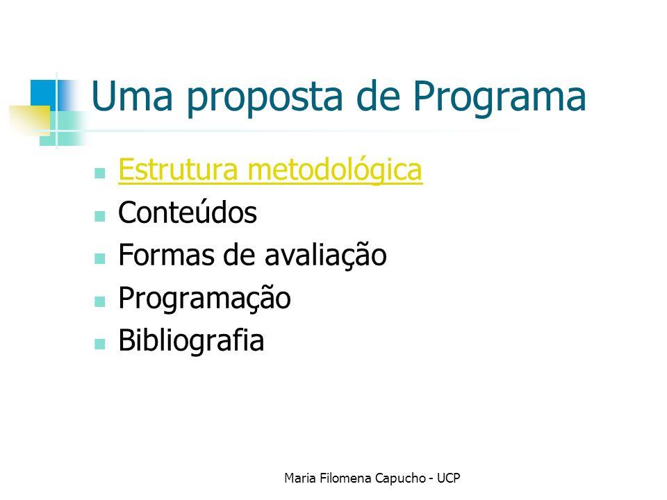 Uma proposta de Programa Estrutura metodológica Conteúdos Formas de avaliação Programação Bibliografia Maria Filomena Capucho - UCP