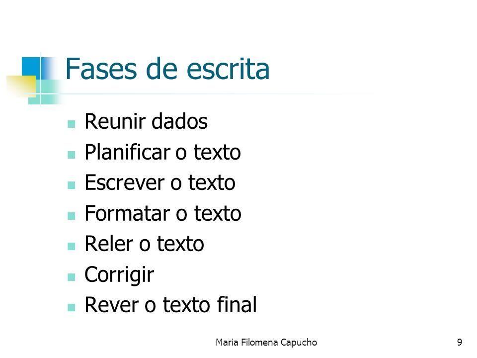 Fases de escrita Reunir dados Planificar o texto Escrever o texto Formatar o texto Reler o texto Corrigir Rever o texto final Maria Filomena Capucho9