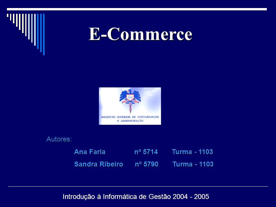 E-Commerce E-Commerce – Relações empresariais efectuadas através de mecanismos electrónicos a fim de, vender e/ou comprar produtos e prestar serviços, recorrendo a redes de telecomunicações do computador.