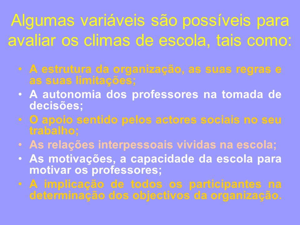 Algumas variáveis são possíveis para avaliar os climas de escola, tais como: A estrutura da organização, as suas regras e as suas limitações; A autono
