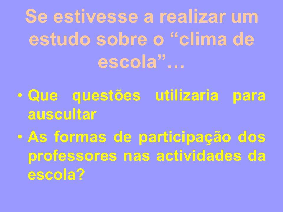 Se estivesse a realizar um estudo sobre o clima de escola… Que questões utilizaria para auscultar As formas de participação dos professores nas activi