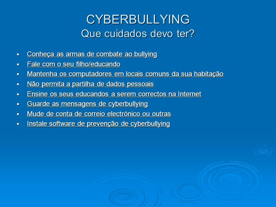 CYBERBULLYING Que perigos pode apresentar o cyberbullying? Estes ataques são perpetrados por jovens contra outros jovens. Dadas as características pró