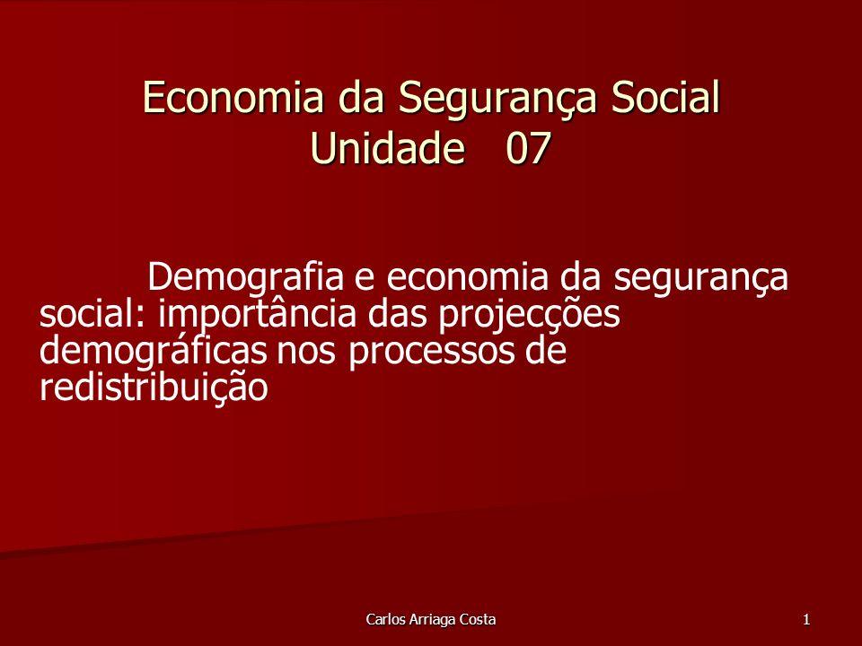 Carlos Arriaga Costa 1 Economia da Segurança Social Unidade 07 Demografia e economia da segurança social: importância das projecções demográficas nos processos de redistribuição