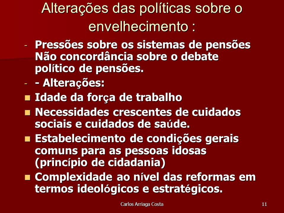 Carlos Arriaga Costa11 Alterações das políticas sobre o envelhecimento : - Pressões sobre os sistemas de pensões Não concordância sobre o debate pol í tico de pensões.