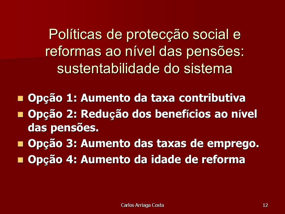 Carlos Arriaga Costa12 Políticas de protecção social e reformas ao nível das pensões: sustentabilidade do sistema Op ç ão 1: Aumento da taxa contributiva Op ç ão 1: Aumento da taxa contributiva Op ç ão 2: Redu ç ão dos benef í cios ao n í vel das pensões.